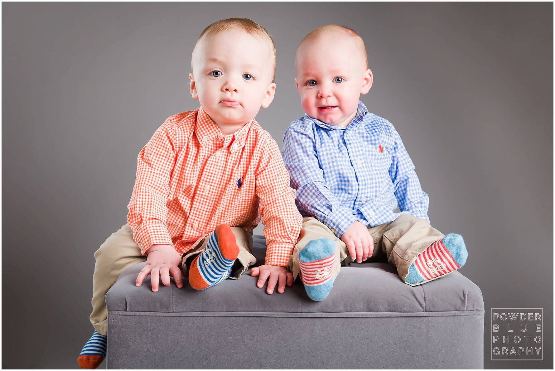 one year old twins studio portrait ralph lauren collared button down shirts toddler kids orange & blue