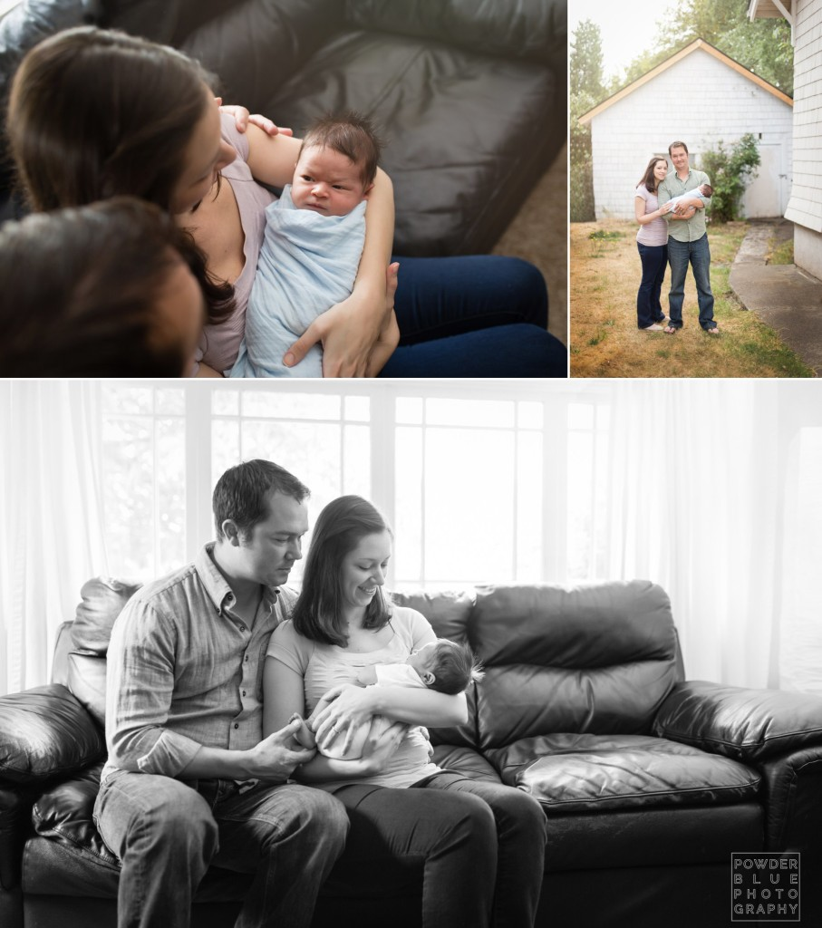 lifestyle in-home newborn session. natural newborn posing. window light with fill flash. family portrait session win home. color and black and white.