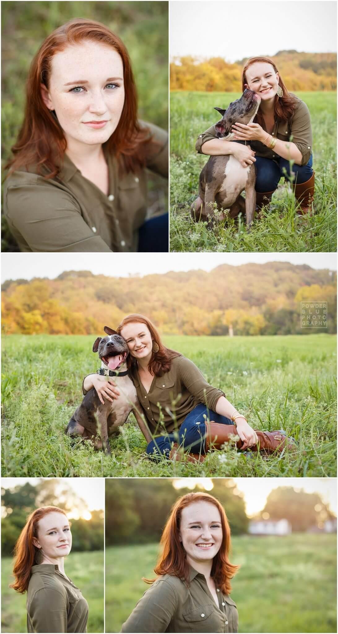 mt lebanon pittsburgh senior portrait inside of senior portrait in field with dog in pittsbugg