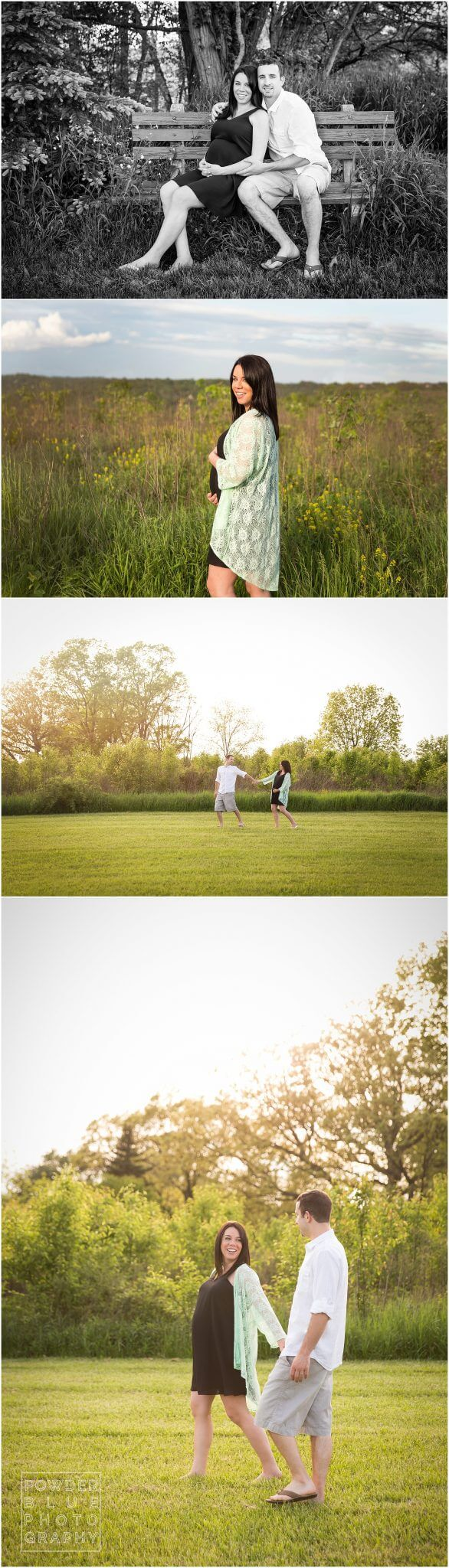 pittsburgh maternity photographer. maternity portrait session in natural setting with tall grasses and hazy sunset backlighting.