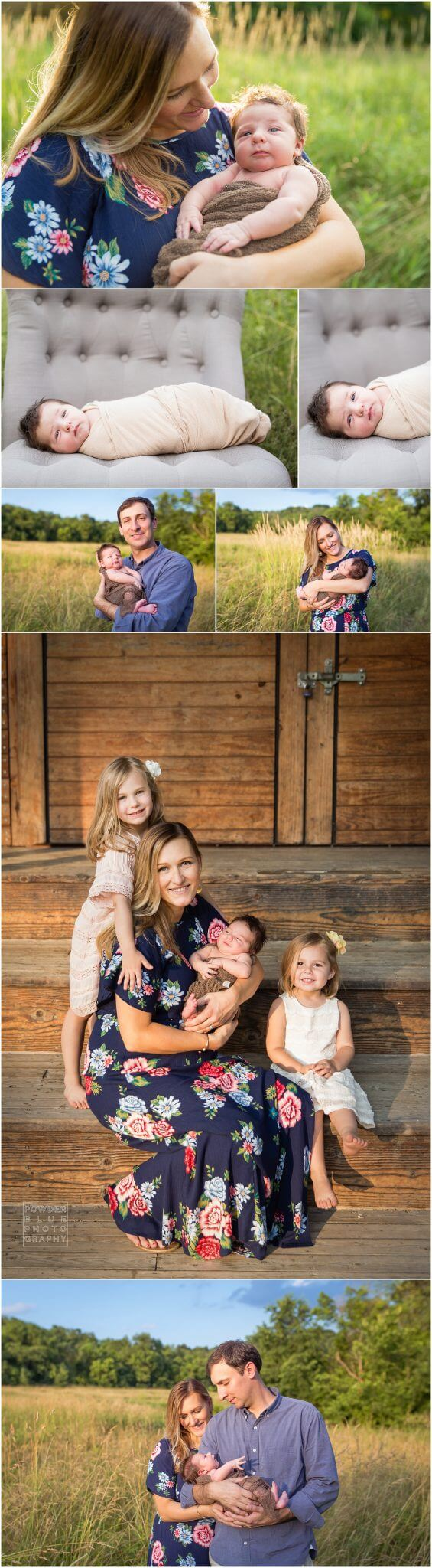 pittsburgh newborn photographer, family session outdoors with newborn baby. family of five. what to wear for outdoor newborn family portraits.