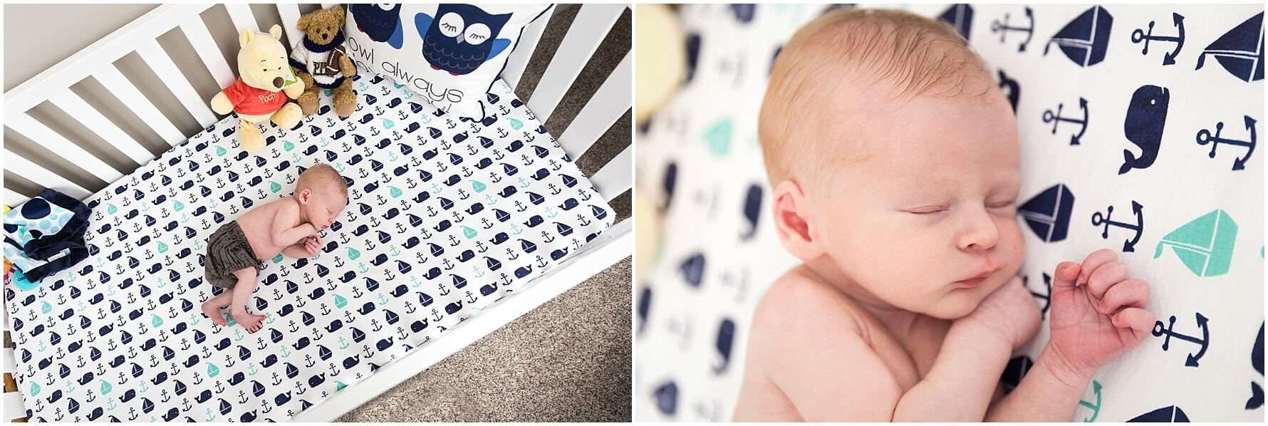 pittsburgh newborn photographer, lifestyle newborn session in pittsburgh . baby boy in nautical themed nursery,