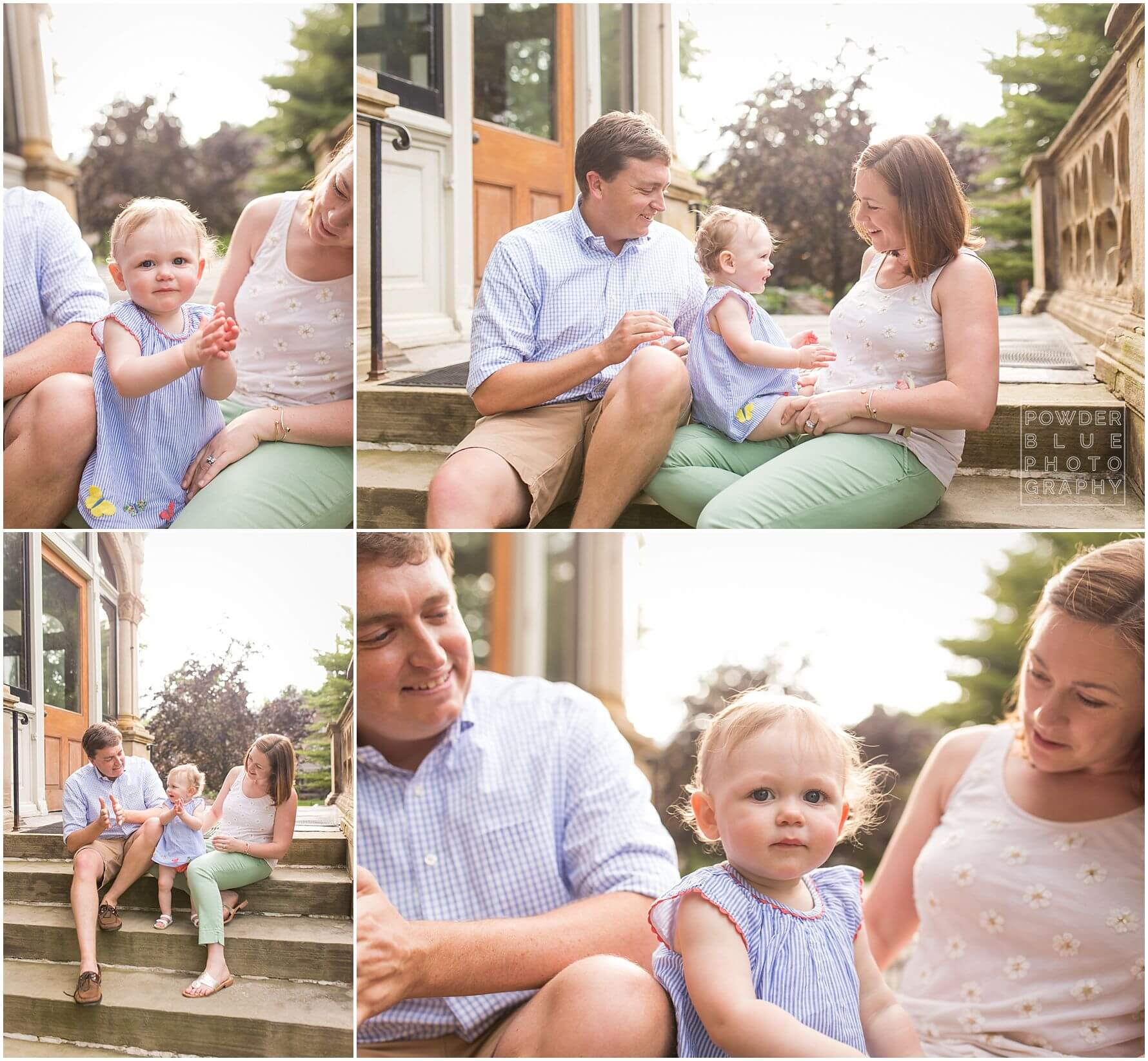 pittsburgh family photography session at frick art and historical center in pittsburgh, pa.  12 month old baby girl and family.