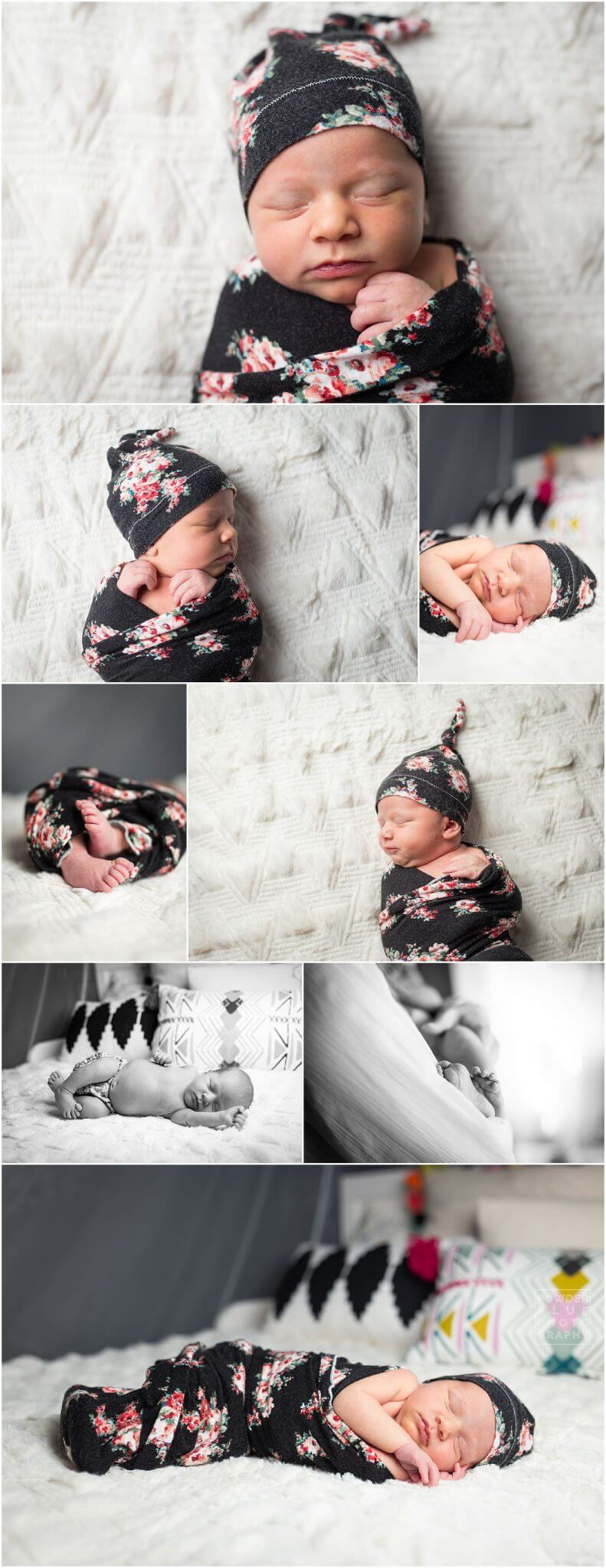 pittsburgh newborn photographer family session in home. baby girl in black wrap with floral print. Canon 600 ex-rt.