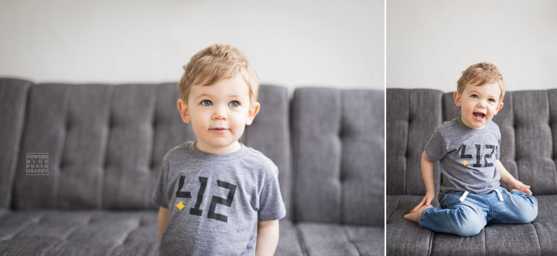 pittsburgh child photographer. boy in commonwealth press kids shirt.