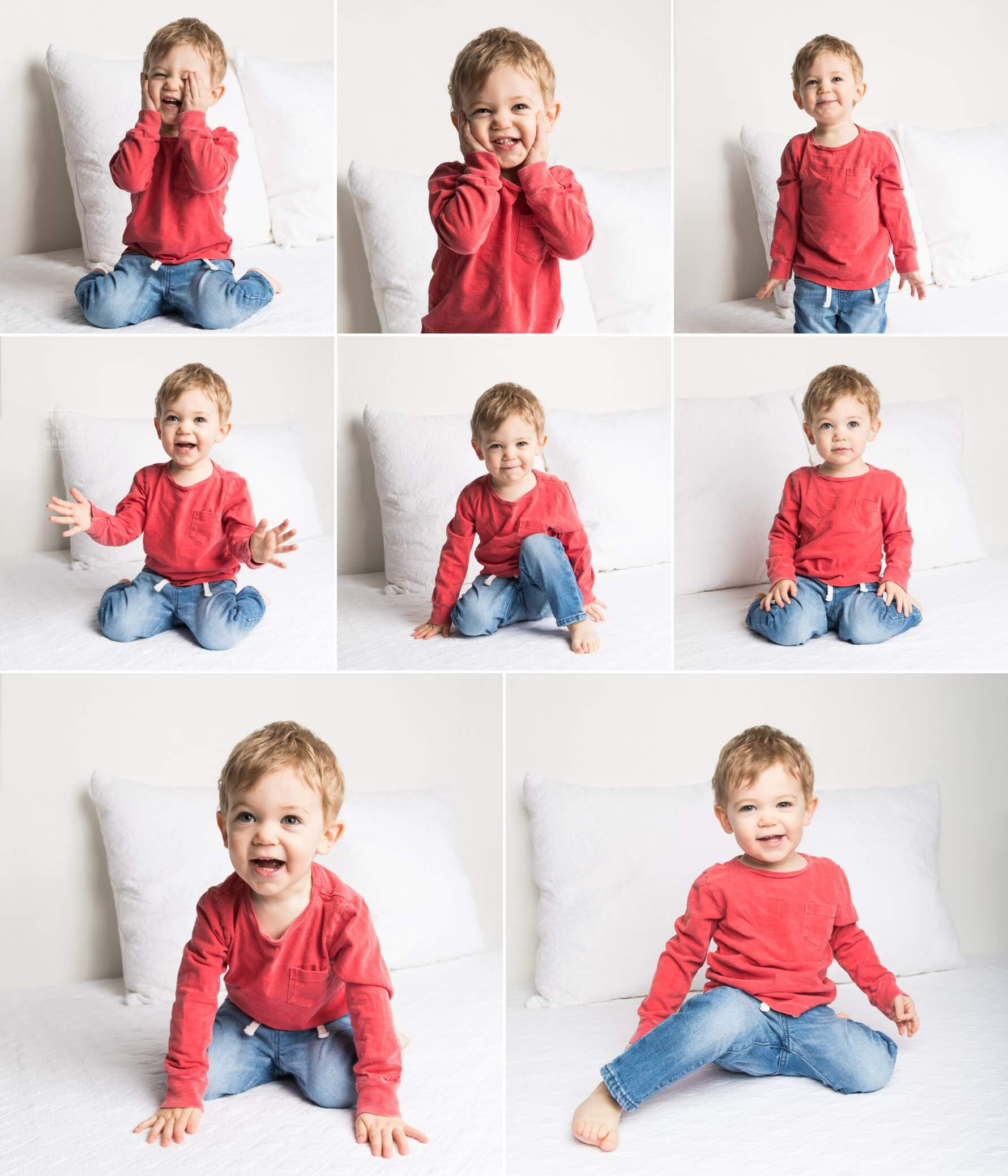 collage of images from a 2 year boys photog session pittsburgh, pa
