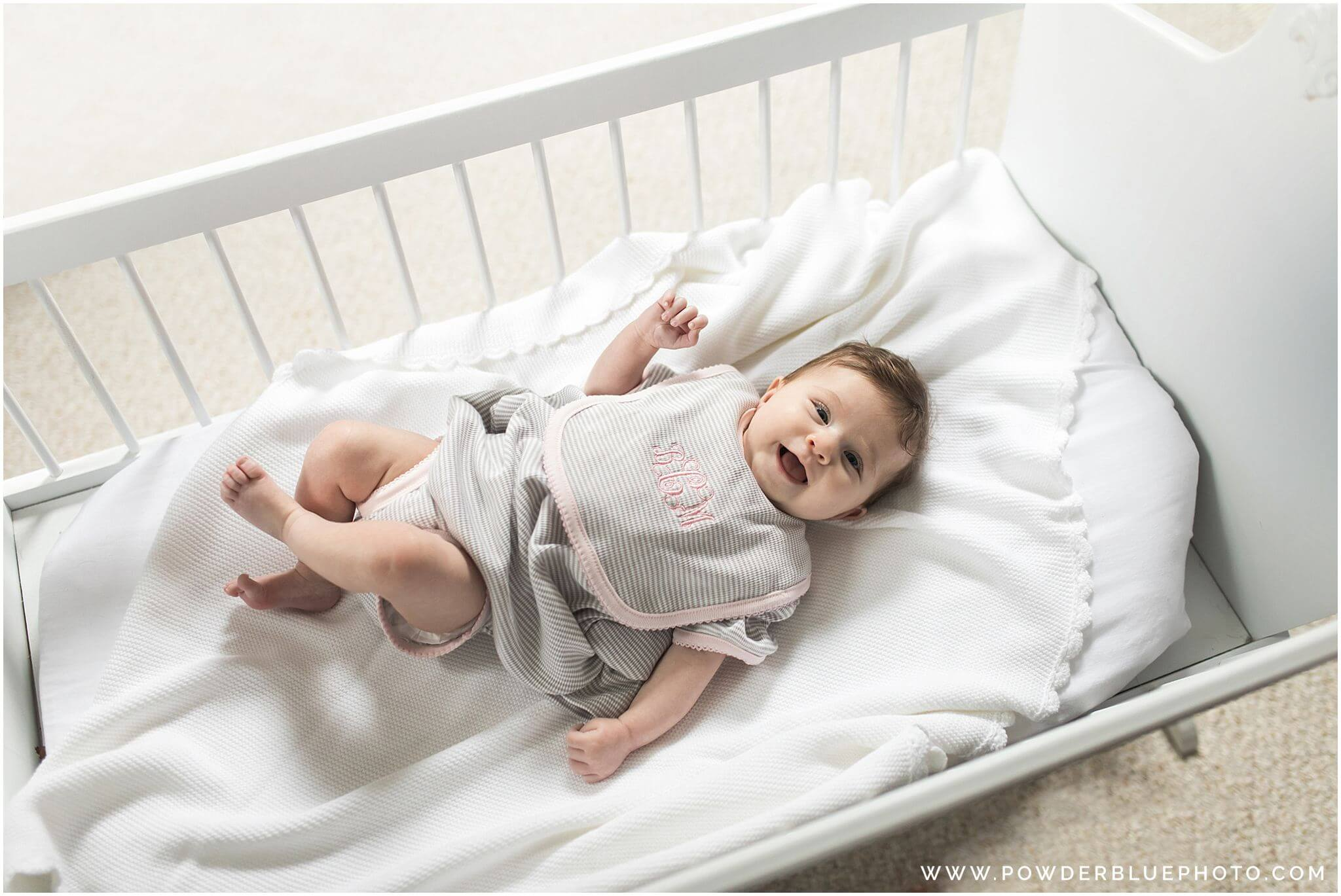 3 month old baby girl in grey and white nursery,  restoration hardware baby.
