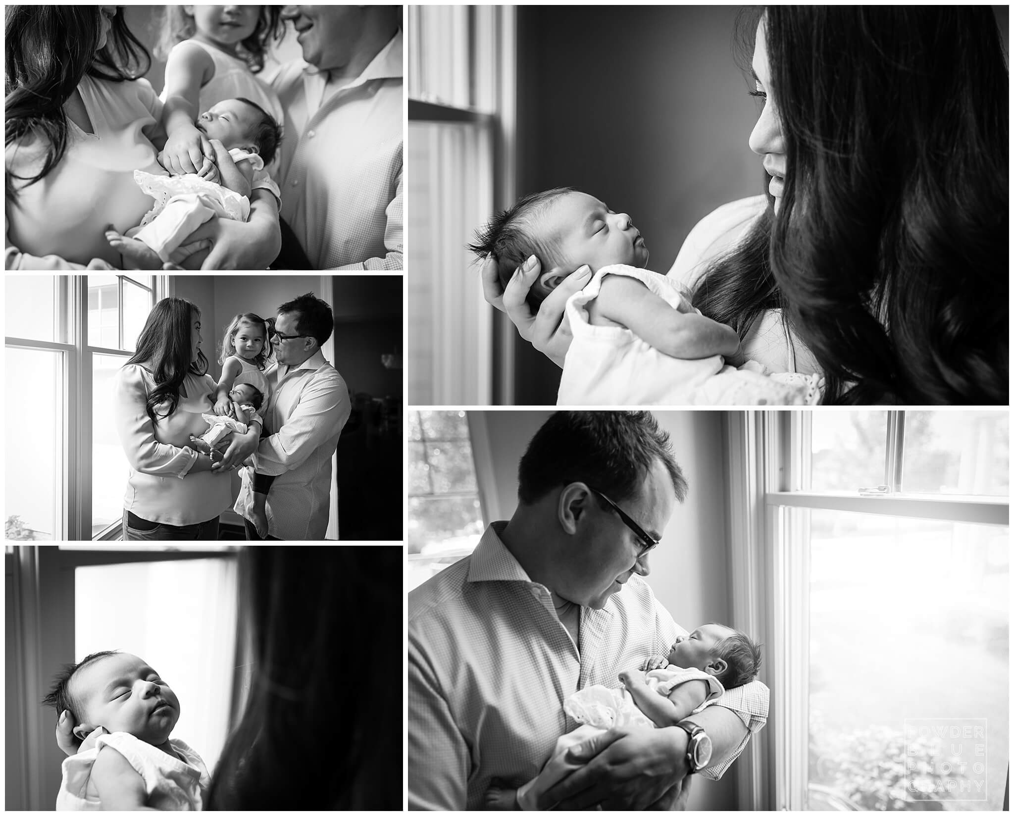 black and white photo. window. newborn. dad. family. Squirrel Hill.