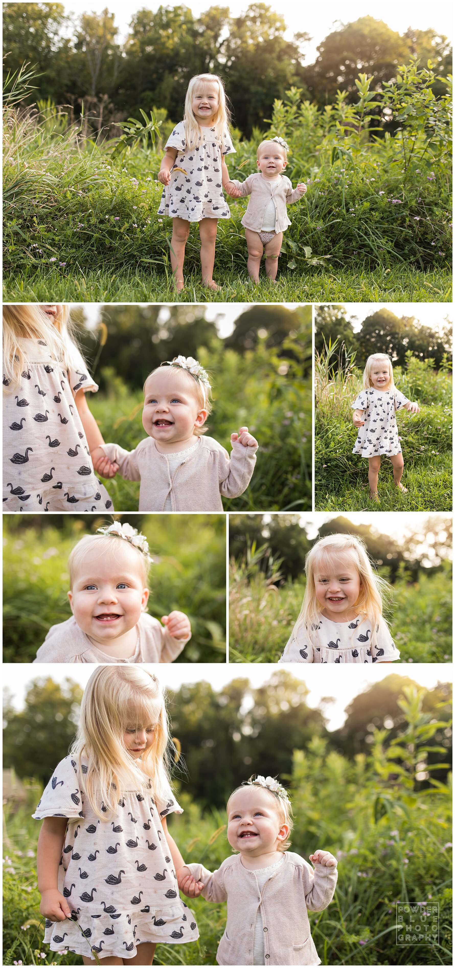 outdoor family portraits. neutral outfit ideas for family portraits. chambray pink white.