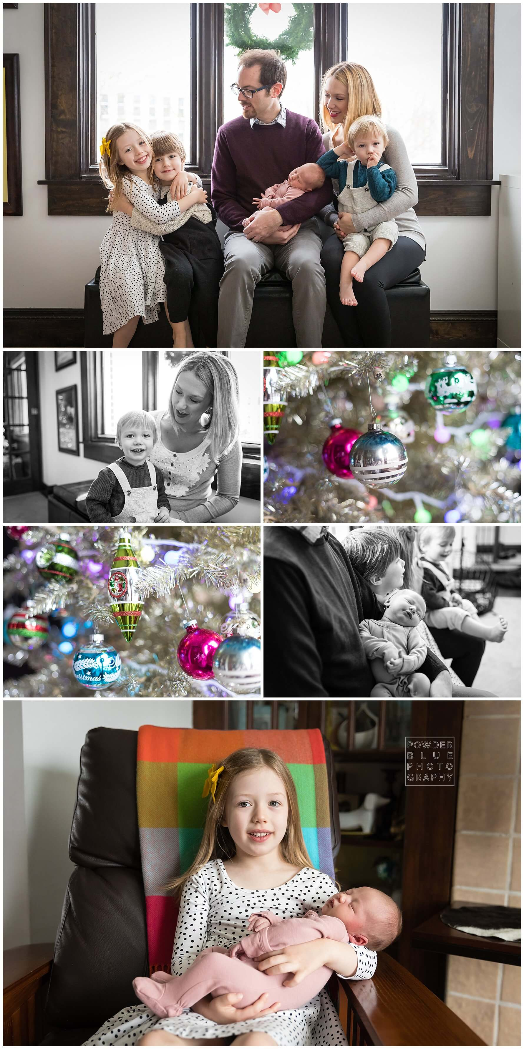 pittsburgh lifestyle newborn photographer. newborn family portrait on a bed.