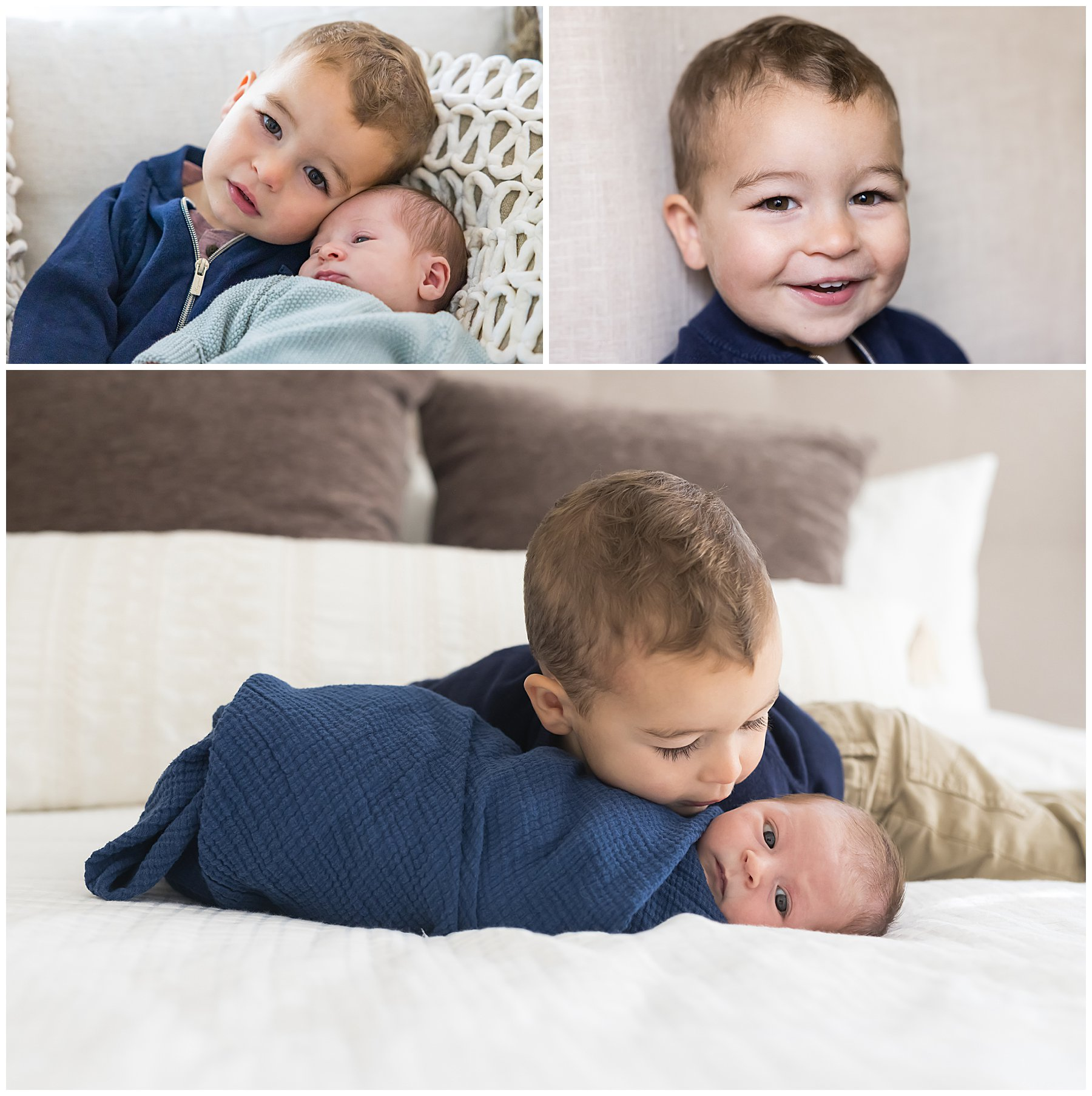 newborn baby boy with big brother on bed