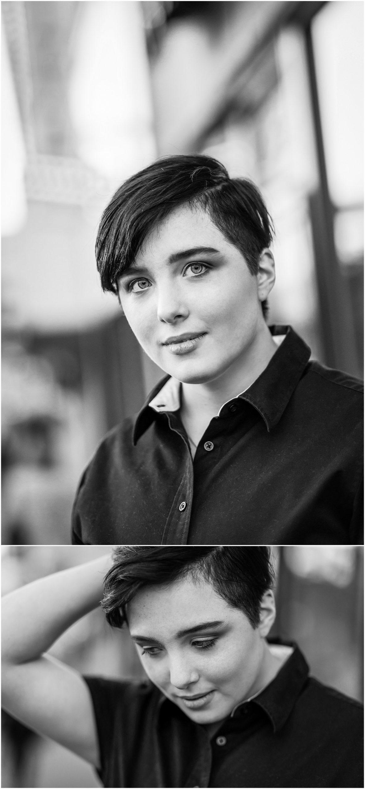 black & white portrait of transgender high school man taking a senior portrait