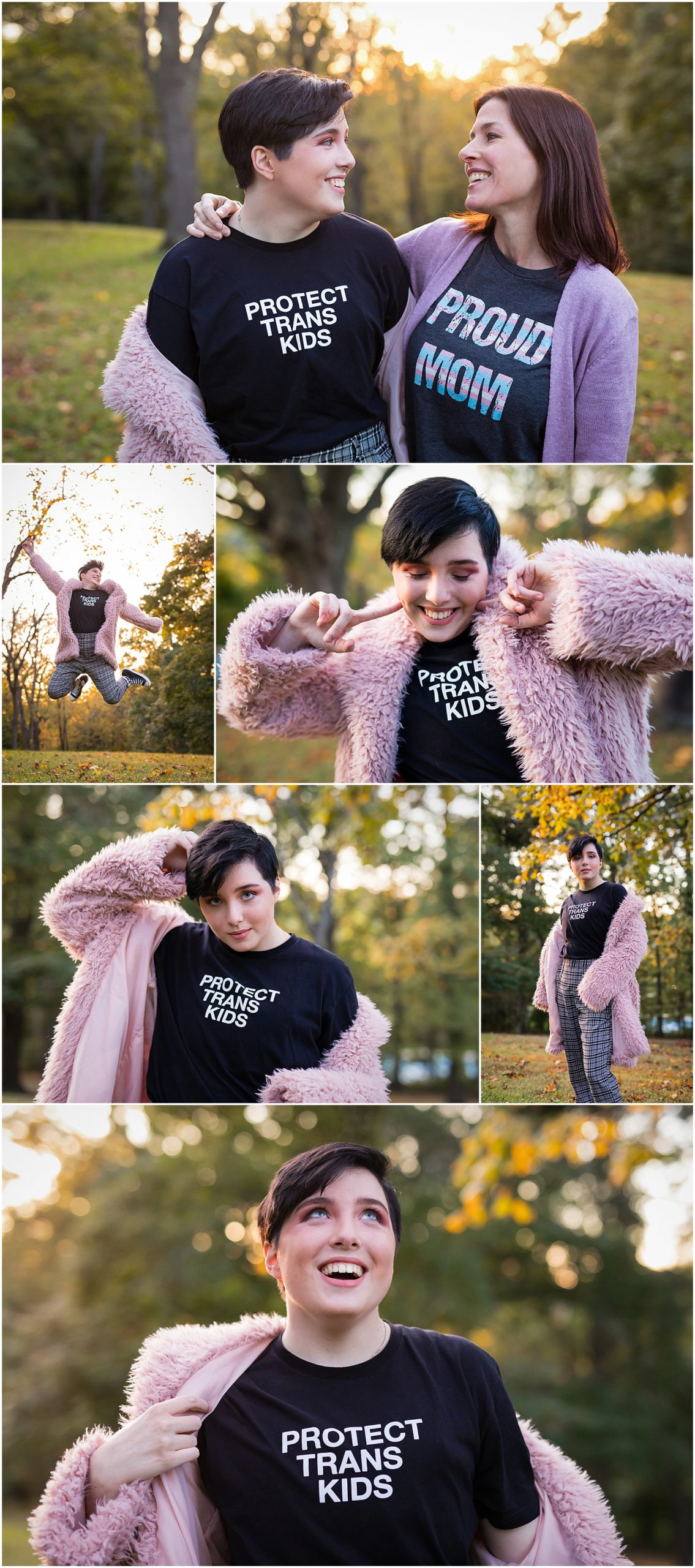 trans high school student senior portrait with pink jacket in park