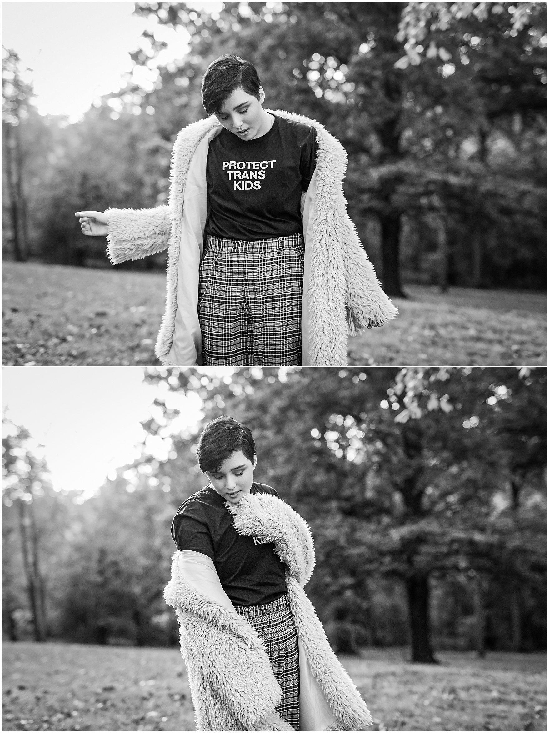trans high school student black and white senior portrait in park